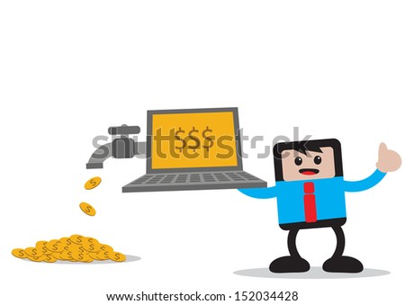 illustration vector graphic of businessman cartoon character in activity - stock vector