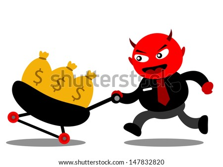 illustration vector graphic of cartoon character devil businessman - stock vector