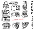 illustration vector hand drawn doodles of many kinds of photo camera - stock vector