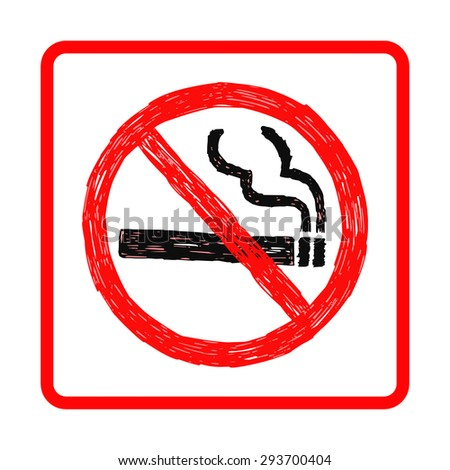 illustration vector hand drawn doodles of no smoking sign isolated on white background - stock vector