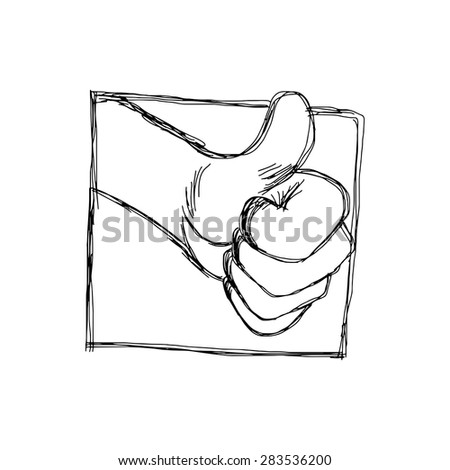 illustration vector hand drawn doodles of thumb up hand symbol in frame, success concept - stock vector