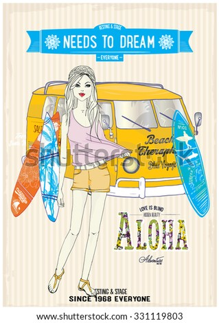 illustration vector handmade drawing-Cute Girl. Surf Car. Tropical Flowers Graphic Design. For t-shirt. Fashion Prints. in Vector