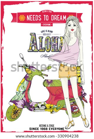 illustration vector handmade drawing-fashion girl on beach. hippie girl and sandals - stock vector