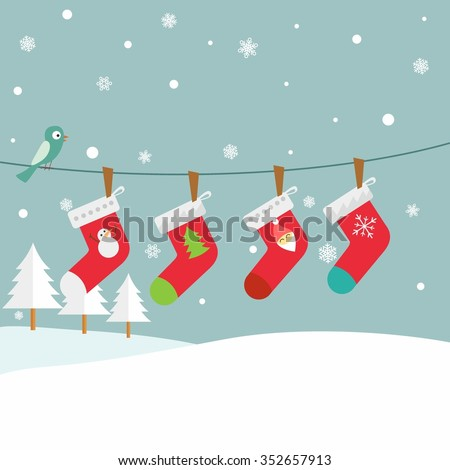 illustration vector hanging christmas socks
