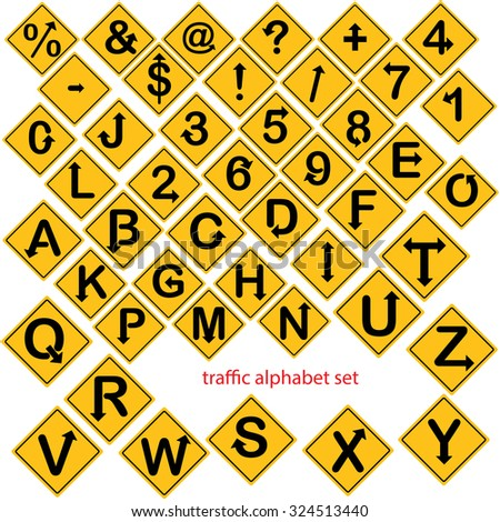 illustration vector of alphabet and number set in yellow road signs or traffic signs isolated