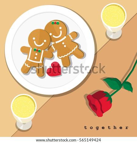 Vector hình minh họa của cậu bé bánh gừng mô-men xoắn và cô gái và bông hồng đỏ trên tấm với một cặp thiết lập bảng sâm banh ăn tối.