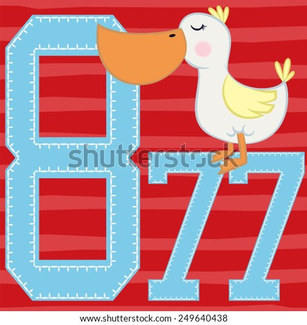Illustration vector of cute pelican with numbers - stock vector