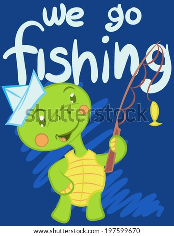 Illustration vector of cute turtle with text. - stock vector