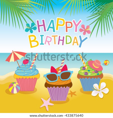 Illustration Vector Of Fantasy Cupcakes For Summer Concept Theme Party Birthday CardBeach