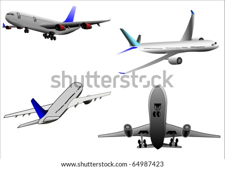 Illustration vector of group of airplane or airbur or plane over white background - stock vector