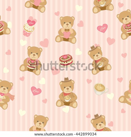 Illustration vector of lover bear with cakes and coffee decoration into seamless pattern.Pastel color for bakery cafe  shop.Stripe background. - stock vector