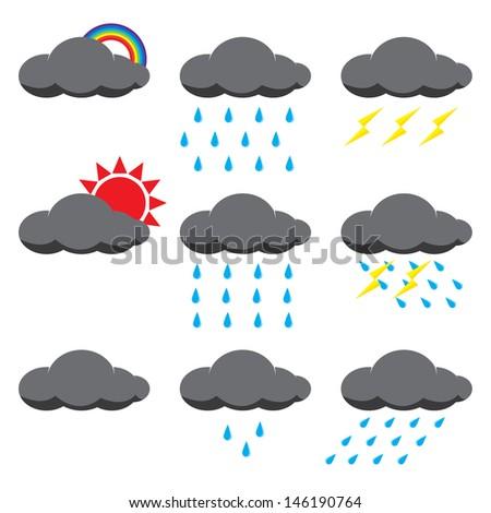 Illustration vector of rain and sun - stock vector