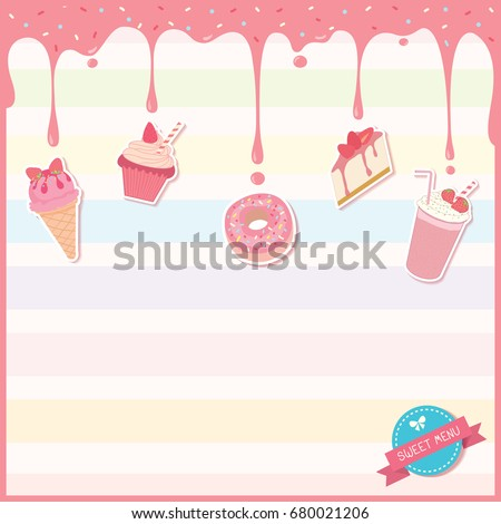 Illustration Vector Of Sweet Dessert Menu Template Decorated With Pink  Strawberry Syrup,toppings And Icon  Dessert Menu Template