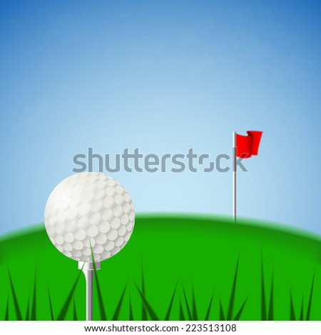 Illustration vector of white golf ball on tee and the green court and blue sky background with pin red fold flag. (EPS10 separate part by part)