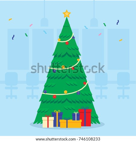 office christmas trees. Illustration Vector Office Christmas Party, Tree With Lots Of Gift. Trees