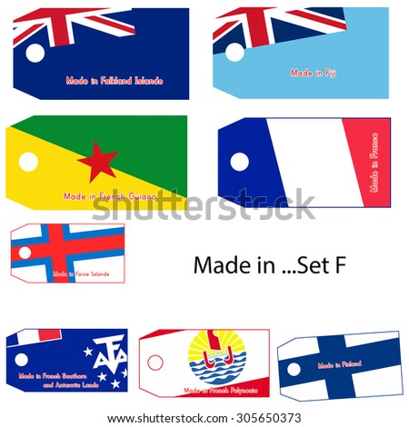 illustration vector price tag with word Made in country's name start with letter F.