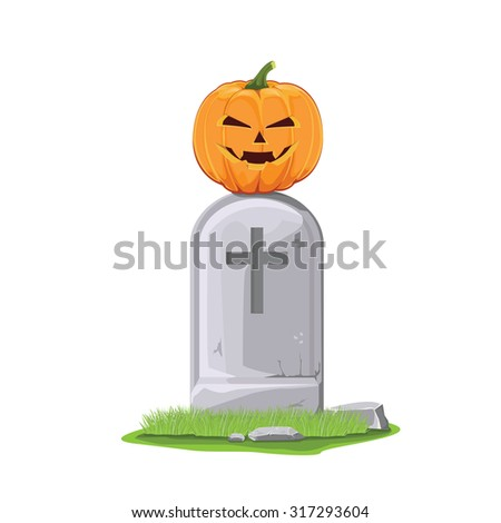 illustration,vector. pumpkin on grave for Halloween. - stock vector