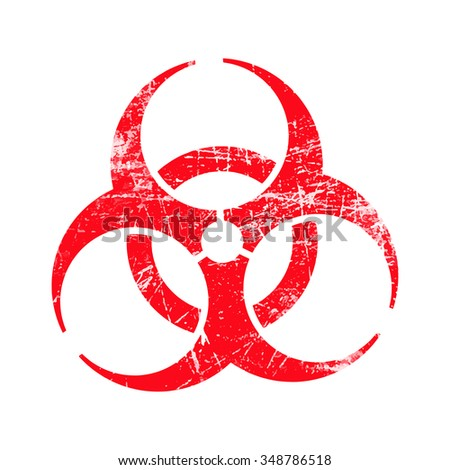 illustration vector red biohazard grungy rubber stamp symbol isolated on white. - stock vector