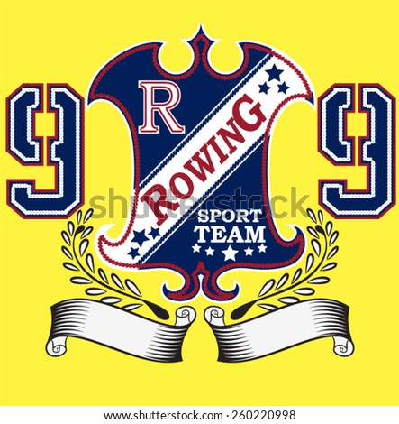 Illustration vector Rowing emblem patch - stock vector