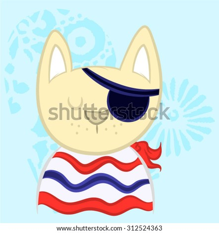 Illustration vector sailor cat