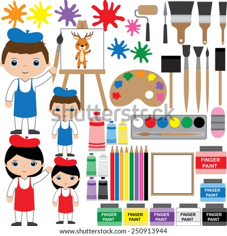 Illustration / vector. Set of painting supplies.  - stock vector