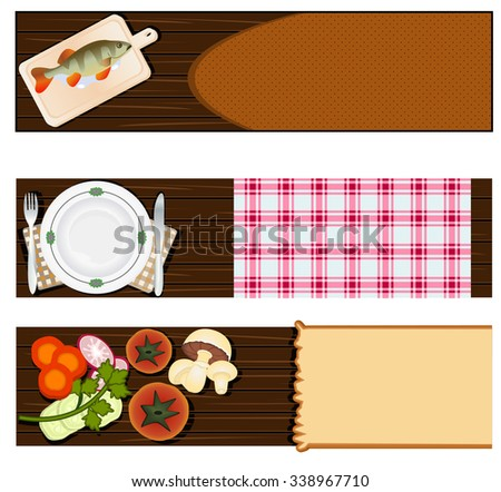 Illustration vector set of three different cooking or restaurant banners. - stock vector