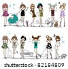 illustration vector teenage  girl set - stock vector