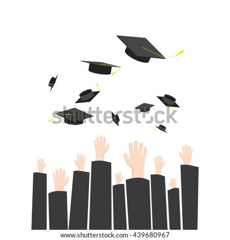 Illustration vector throwing graduate hat in graduation ceremony. A symbol of Education success.