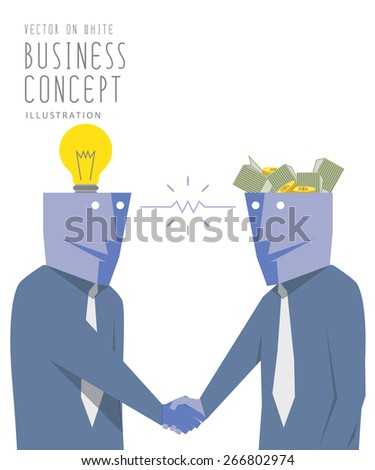 Illustration vector two businessmen exchange money with idea  and handshake. Agreement and success flat style. - stock vector