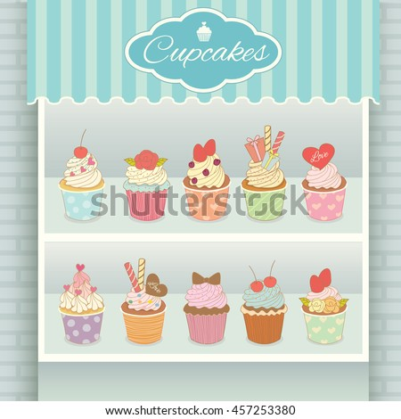 illustration vector various cupcakes menu display on shelf in showcase of cyan cafe shop - Cyan Cafe Interior