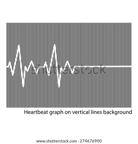 illustration vector white heart cardiogram on the background of vertical lines - stock vector