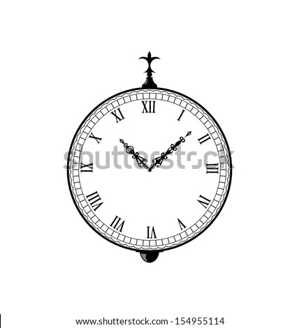 Illustration vintage clock with vignette arrows - vector - stock vector
