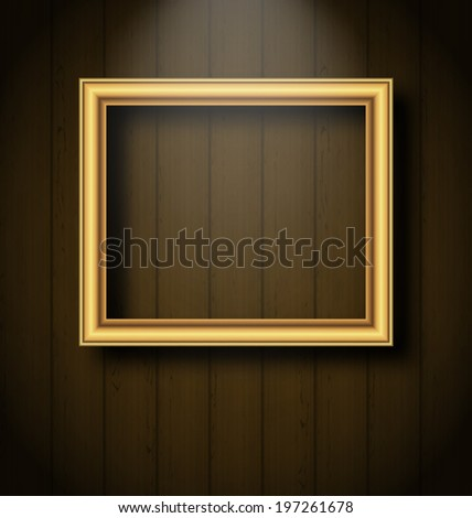 Illustration vintage picture frame on wooden wall - vector - stock vector