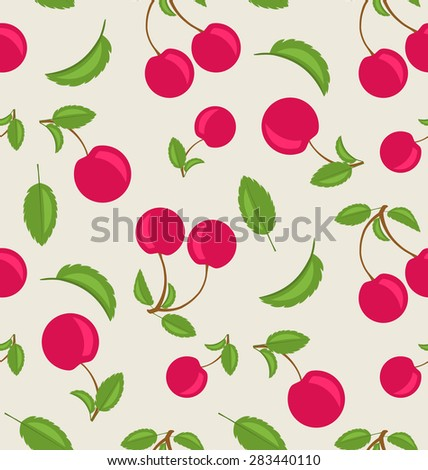 Illustration Vintage Seamless Wallpaper of Cherries with Green Leaves - Vector - stock vector