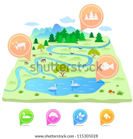 illustration volumetric terrain map with pointers and animals - stock vector