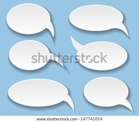 Illustration White Bubbles for Speech, Set. Vector.  - stock vector