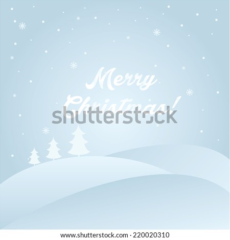 Illustration winter landscape with text Merry Christmas. Vector.