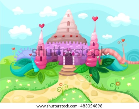 illustration with a beautiful castle