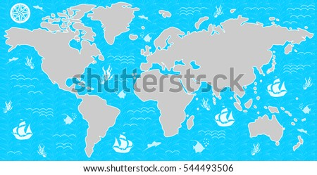 Illustration With A Beautiful Map Of All The Continents And Oceans.