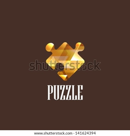 illustration with a diamond puzzle icon - stock vector