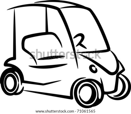 illustration with a golf-car - stock vector