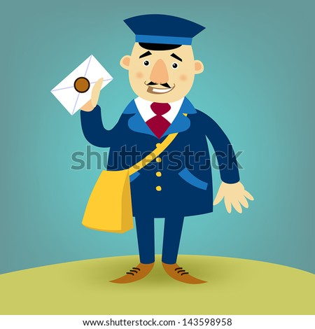 Illustration with a happy postman - stock vector