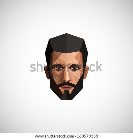 illustration with a male face in origami style  - stock vector