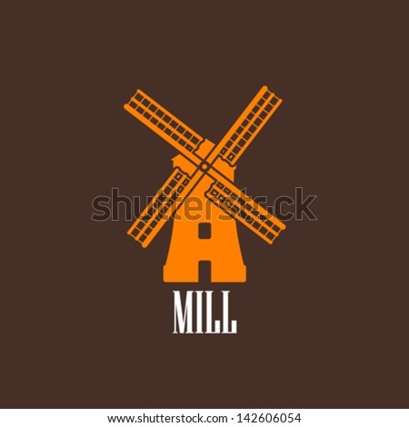 illustration with a mill - stock vector