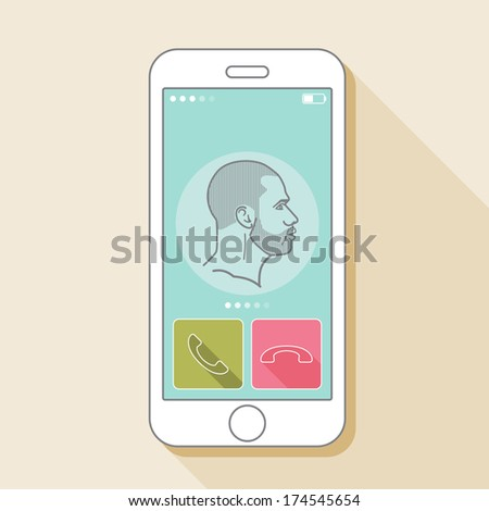 Illustration with a mobile phone conversation. Gadget and male face in flat style - stock vector