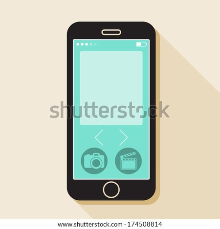 Illustration with a mobile phone. device in flat style with a media gallery interface and a long shadow - stock vector