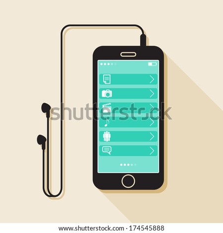 Illustration with a mobile phone. device in flat style with a media gallery interface, headphones  and a long shadow - stock vector