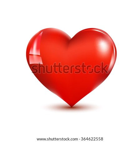 Illustration with a red valentine heart. eps 10 - stock vector