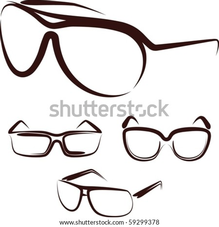 Illustration with a set of glasses - stock vector