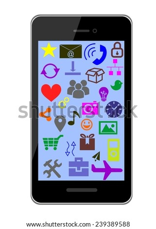 illustration with a smartphone and a variety of icons.